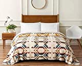 """Pendleton Sherpa Fleece Reversible Blanket - King Size - Home Collection White Sands Multi Design - Inspired by New Mexico's White Sands National Park- Super Soft Blanket 112"""" by 92"""""""