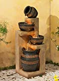 """Rustic Stoneware Bowl and Jar Outdoor Floor Water Fountain with Light LED 46"""" High Cascading for Yard Garden Patio Deck Home - John Timberland"""