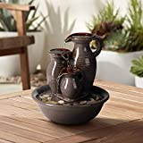"""John Timberland Triple Jug Zen Indoor Table-Top Water Fountain 9"""" High Cascading for Table Desk Office Patio Home Bedroom Relaxation"""
