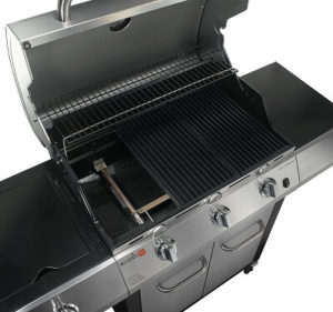 Features Inside a gas grill. Cooking Surface, Side Burners, and Infrared Burners