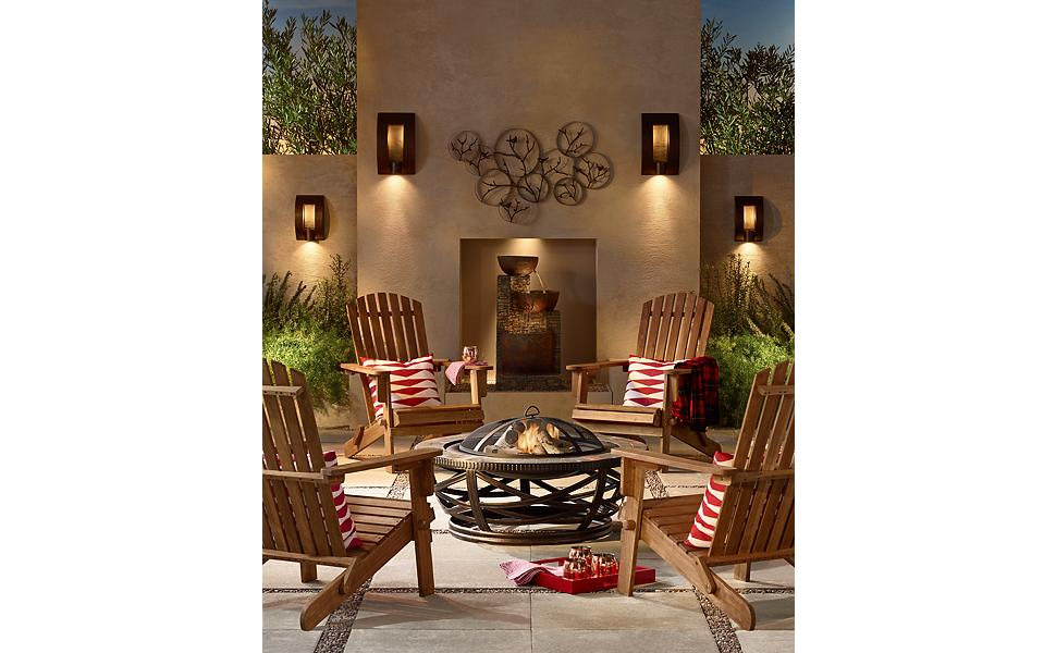 fire pit seating, fountain in background